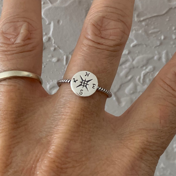 Sterling Silver Compass Ring, Silver Ring, Dainty Ring, Map Ring, Direction Ring