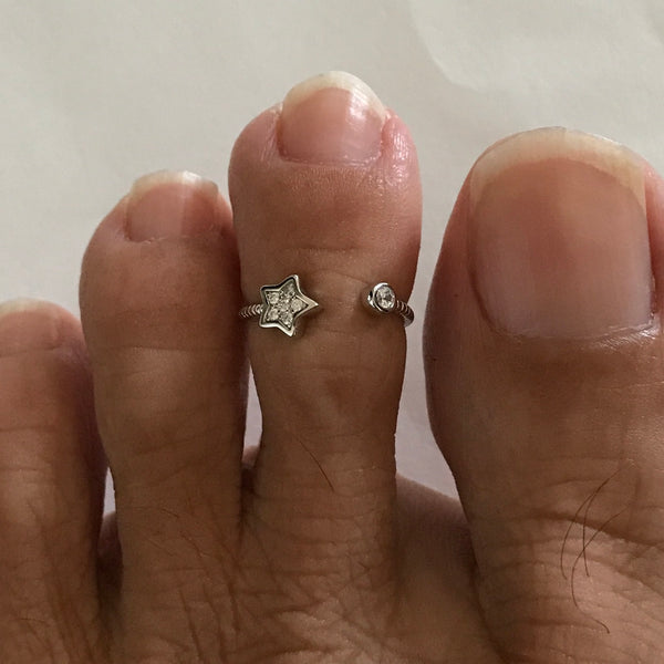 Sterling Silver Tiny Star CZ Toe Ring