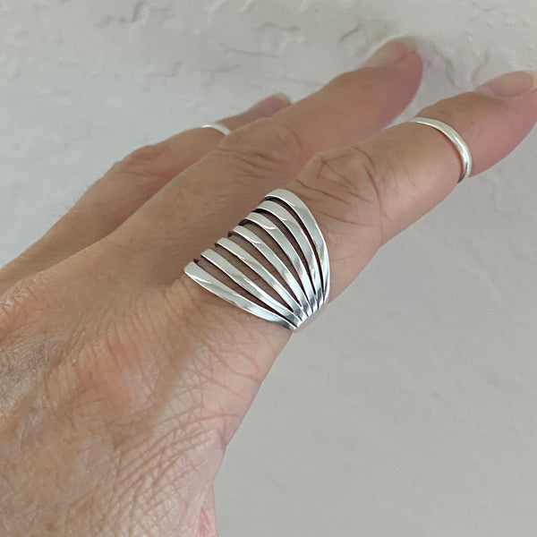 Sterling Silver Statement Boho Ring, Silver Rings, Statement Ring, Silver Band