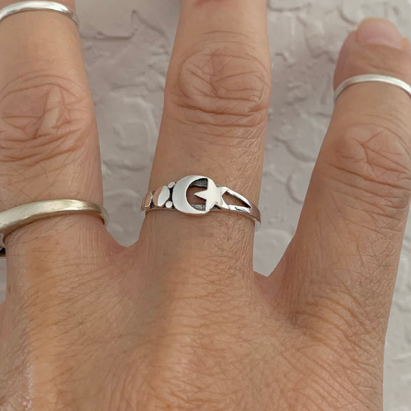 Sterling Silver Moon and Star Ring, Silver Ring, Moon Ring, Celestial Ring