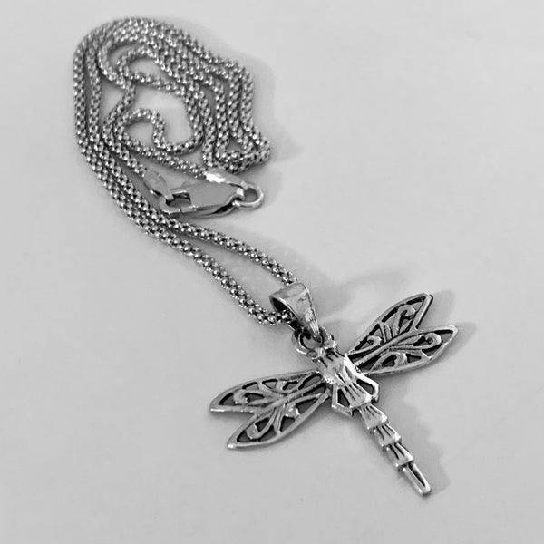 Sterling Silver Dragonfly Necklace, Silver Necklace, Boho Necklace, Spirit Necklace