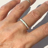 Sterling Silver White Lab Opal Band Ring, Silver Ring, Wedding Band, Opal Ring
