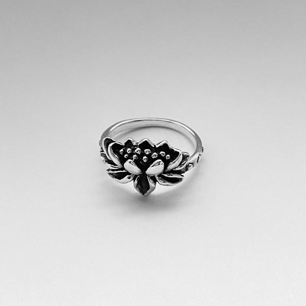 Sterling Silver Blooming Lotus Ring, Flower Ring, Spirit Ring, Boho Ring