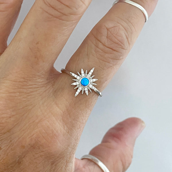 Sterling Silver Clear CZ and Blue Lab Opal Twinkle Star Ring, Opal Ring, Boho Ring