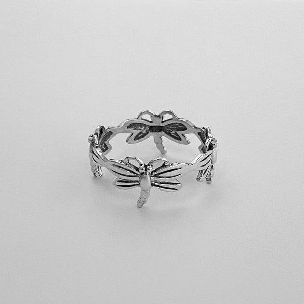 Sterling Silver Eternity Dragonfly Ring, Silver Ring, Boho Ring, Spirit Ring