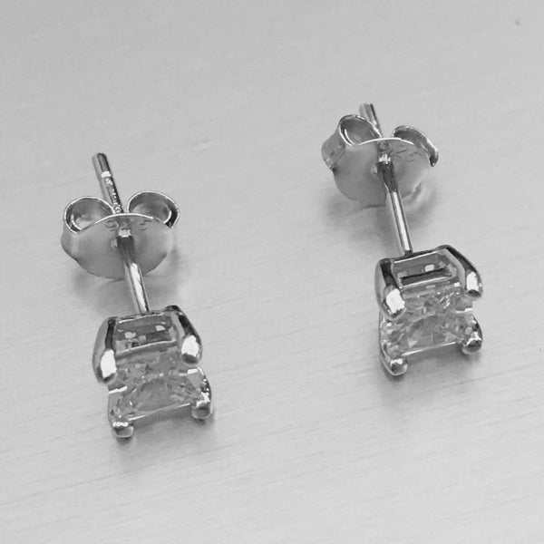 Sterling Silver 4 MM Square CZ Stud Earrings, Silver Earrings, Stud Earrings, CZ earrings