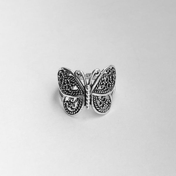 Sterling Sterling Filigree Butterfly Ring, Silver Ring, Statement Ring, Spirit Ring