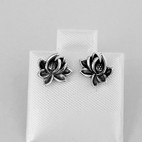 Sterling Silver Boho Blooming Lotus Flower Earrings, Silver Earrings, Stud Earrings
