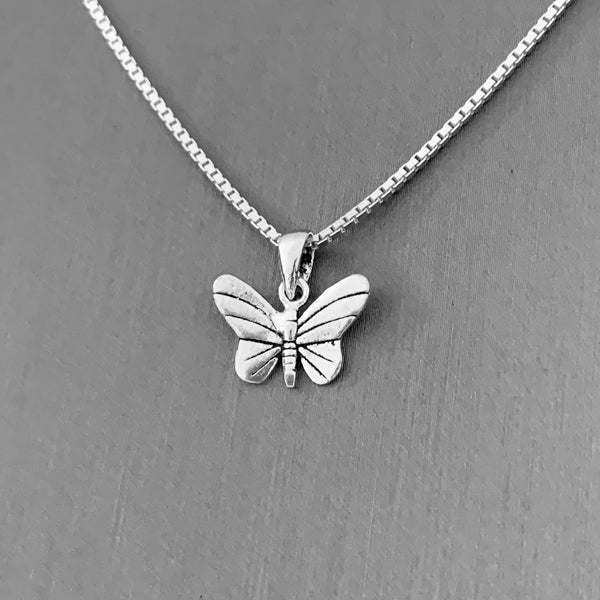 Sterling Silver Small Butterfly Necklace, Boho Necklace, Silver Necklace