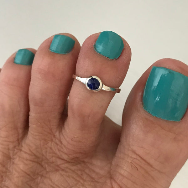 Sterling Silver Toe Ring with Synthetic Sodalite, Stone Ring, Silver Ring