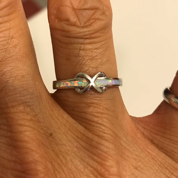 Sterling Silver White Lab Opal Infinity Ring, Silver Ring, Promise Ring