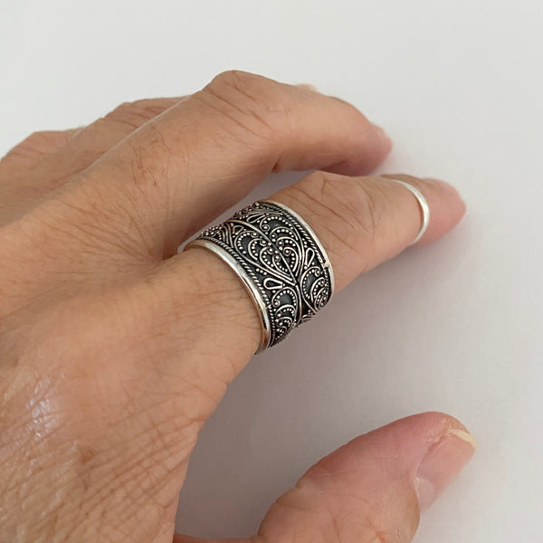 Sterling Silver Bali Design Ring, Statement Ring, Silver Ring, Boho Ring, Bali Ring