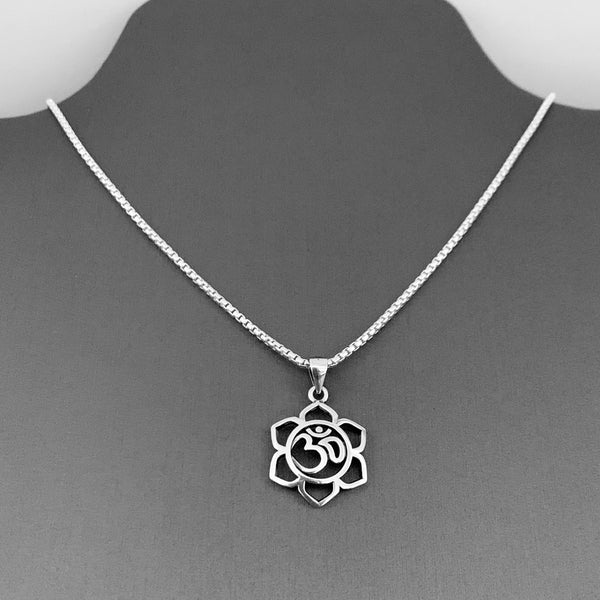 Sterling Silver Lotus OM Necklace, Silver Necklace, Lotus Necklace, Flower Necklace