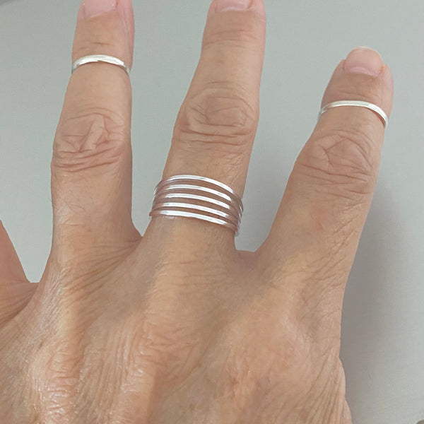 Sterling Silver Multiple Thin Bands Ring, Silver Ring, Silver Band, Boho Ring