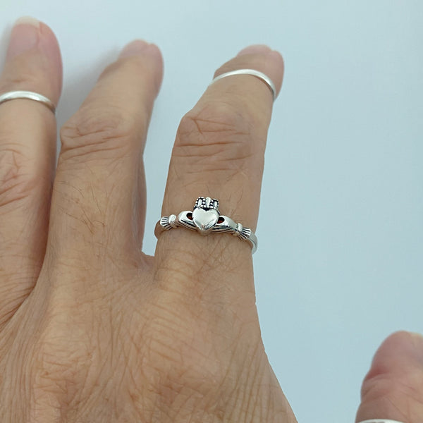 Sterling Silver Small Claddagh Ring, Loyalty Ring, Irish Ring, Silver Rings, Heart Ring, Friendship Ring