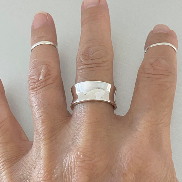 Sterling Silver Heavy Concave Band, Silver Band, Silver Ring, Statement Ring, Boho Ring