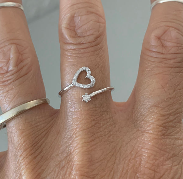 Sterling Silver CZ Heart and Tiny Star Ring, Silver Ring, Heart Ring, Love Ring