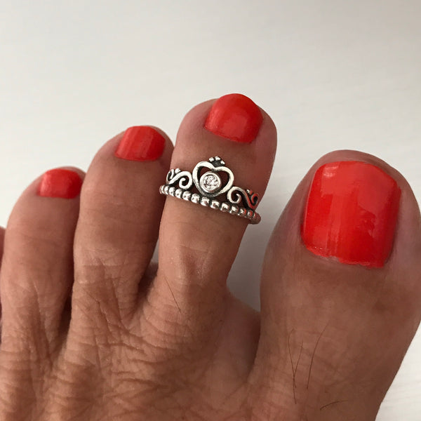 Sterling Silver Crown CZ Toe Ring, Silver Rings, Crown Ring