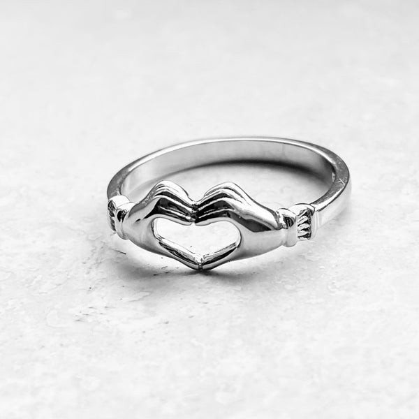 Sterling Silver Heart Hands Claddagh Ring, Silver Ring, Heart Ring, Hand Ring, Love Ring