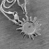 Sterling Silver Blue Lab Opal Sun Necklace, Silver Necklace, Sunshine Necklace