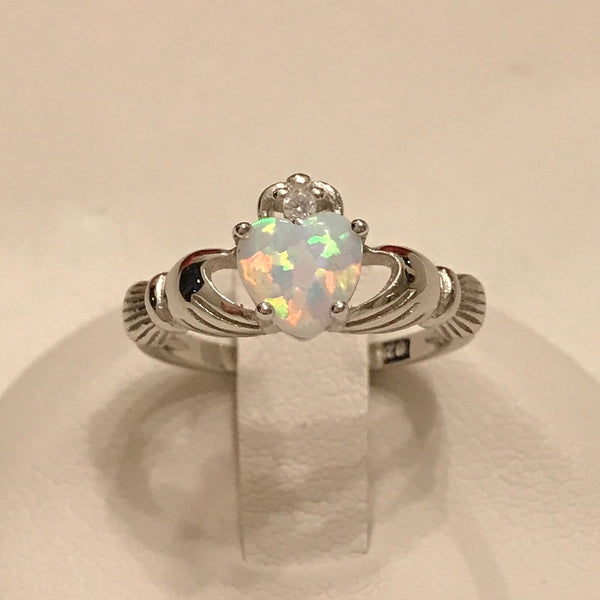 Sterling Silver Claddagh White Lab Opal Heart Ring
