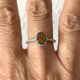 Sterling Silver Oval Black Lab Opal Ring with CZ