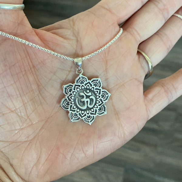 Sterling Silver Large Lotus OM Necklace, Silver Necklace, Lotus Necklace, Flower Necklace