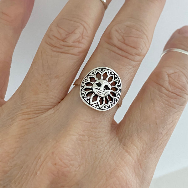 Sterling Silver Happy Sun Ring, Silver Ring, Boho Ring, Sunshine Ring