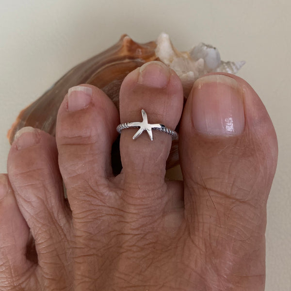 Sterling Silver Starfish Toe Ring, Silver Rings, Star Ring, Seashell Ring, Beach Ring
