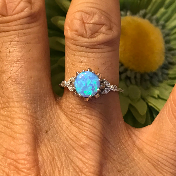 Sterling Silver Round Light Blue Lab Opal with CZ Ring, Silver Ring, Rings
