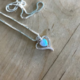 Sterling Silver Blue Lab Opal and Clear CZ Heart Necklace, Silver Necklace, Opal Necklace