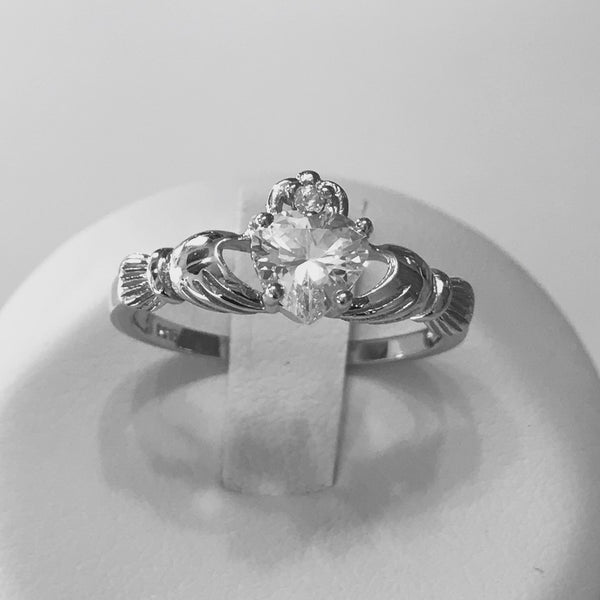 April Birthstone Sterling Silver Claddagh CZ Heart Ring