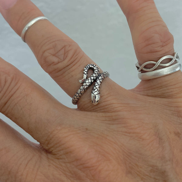 Sterling Silver Snake Ring, Silver Ring, Reptile Ring, Religious Ring