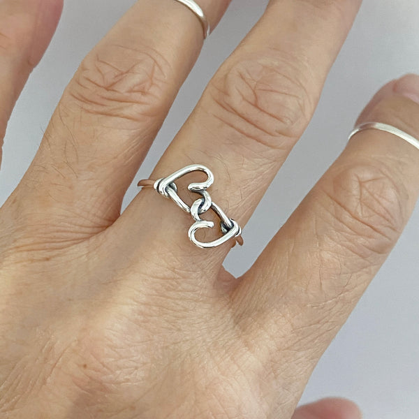 Sterling Silver Knotted Hearts Ring, Love Ring, Dainty Ring, Boho Ring, Heart Ring
