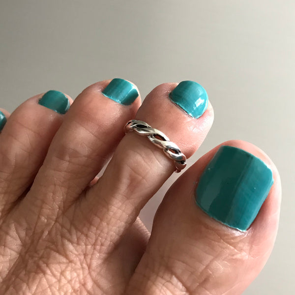 Sterling Silver Twist Braid Toe Ring, Silver Rings