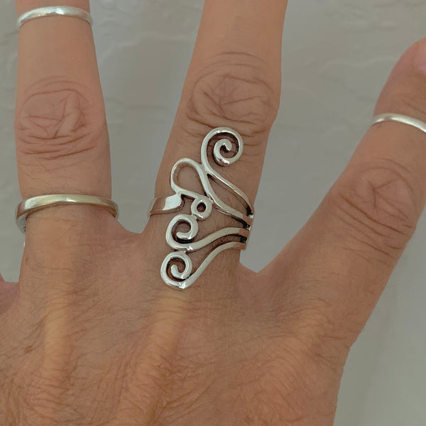 Sterling Silver Swirl Ring, Silver Ring, Statement Ring, Boho Ring