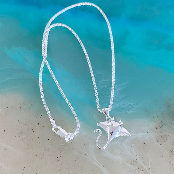 Sterling Silver Stingray Necklace, Silver Necklace, Ocean Necklace
