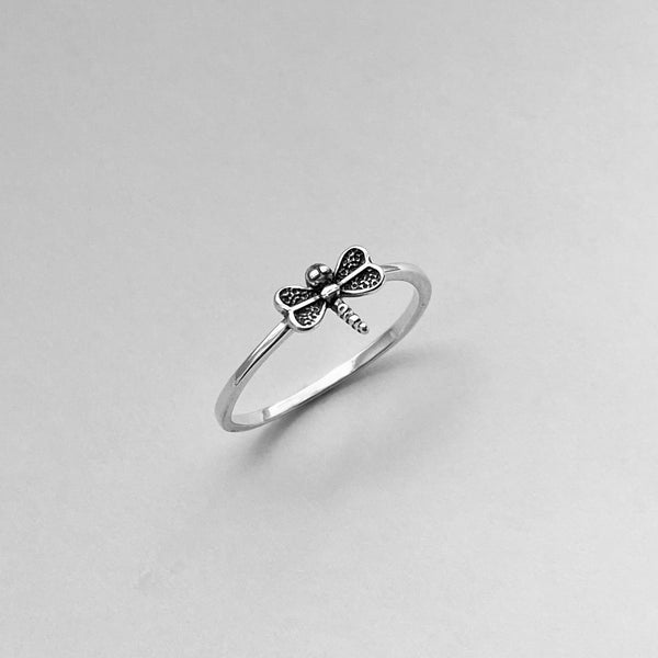 Sterling Silver Small Dragonfly Ring, Dainty Ring, Silver Ring, Spirit Ring, Boho Ring