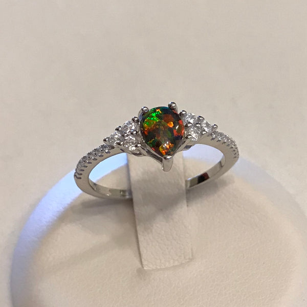 Sterling Silver Teardrop CZ and Black Lab Opal Ring, Silver Ring, CZ Ring