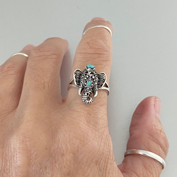 Sterling Silver Filigree Ganesha Elephant Ring, Turquoise Ring, Boho Ring, Silver Ring