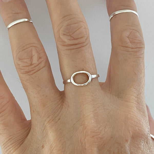 Sterling Silver Small Open Circle Ring, Boho Ring, Silver Ring, Halo Ring