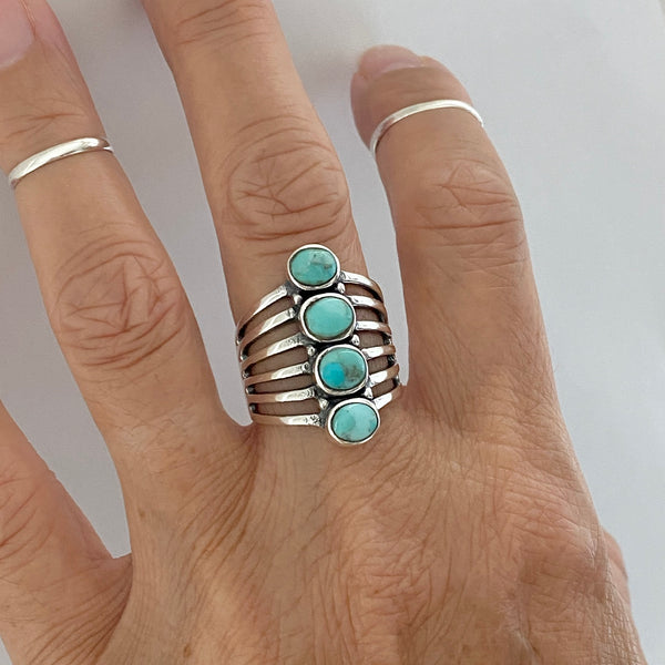 Sterling Silver 4 Round Genuine Turquoise Ring, Statement Ring, Boho Ring, Silver Ring