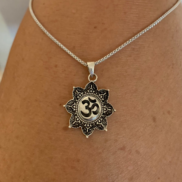 Sterling Silver Tibetan OM in Lotus Necklace, Silver Necklace, Flower Necklace