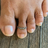 Sterling Silver Interwoven Rope Toe Ring, Silver Rings, Woven Ring