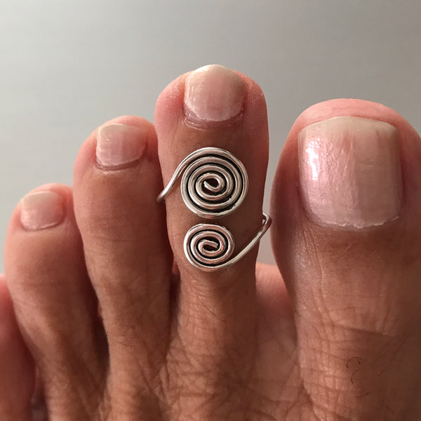 Sterling Silver Adjustable Spirals Toe Ring, Boho Ring, Silver Ring, Spiral Ring