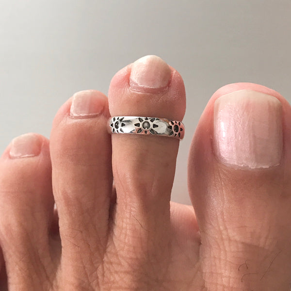Sterling Silver Sun Toe Ring, Boho Ring, Silver Ring, Silver Band, Sunshine Ring