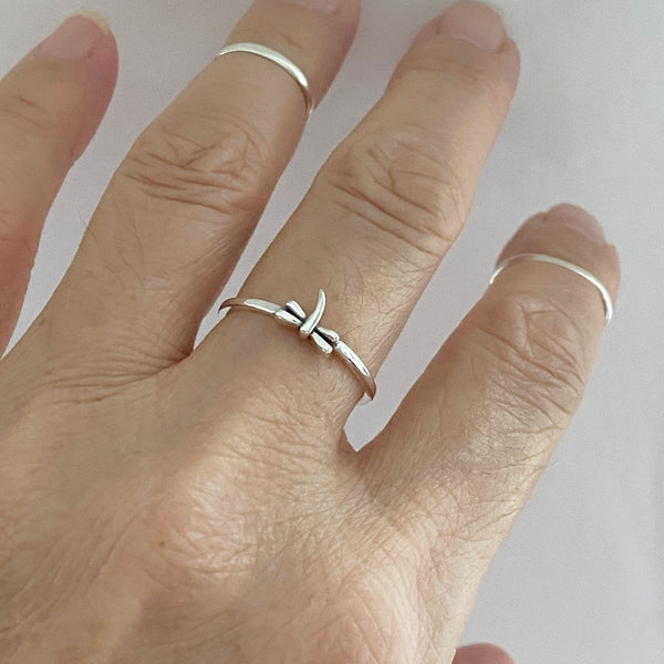 Sterling Silver Tiny Dragonfly Ring, Dainty Ring, Silver Ring, Spirit Ring, Boho Ring