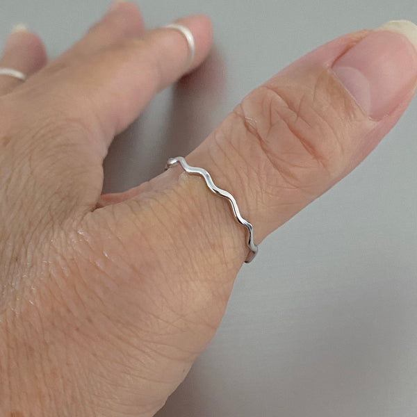 Sterling Silver Thin Tiny Waves Ring, Dainty Ring, Silver Ring, Wave Ring, Stackable Ring