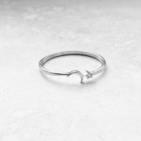 Sterling Silver Tiny Moon and CZ Star Ring, Dainty Ring, Silver Ring, Boho Ring, Moon Ring