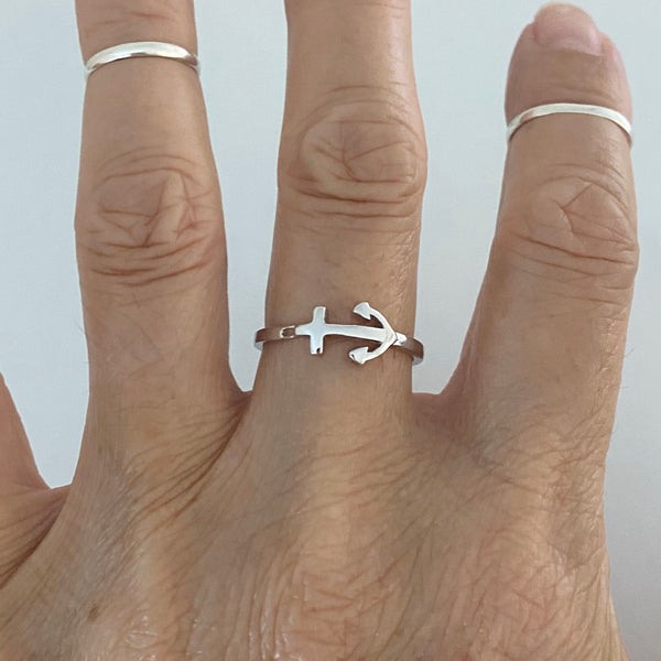 Sterling Silver Anchor Ring, Nautical Ring, Silver Ring, Love Ring, Boat Ring